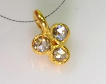 5mmx7.5mm 18k Solid Yellow Gold Rose Cut Champagne Diamond Charm Pendant