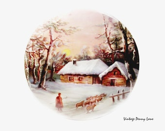 Vintage Winter Print, Country Cottage Wall Art