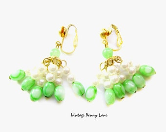 Vintage Bead Earrings, Green Lucite / Pearl Dangle Clip Ons