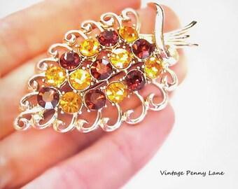 Vintage Amber Rhinestone Brooch, Gold Leaf Pin