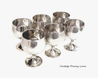 Vintage Silver Plated Goblets / Shot Glasses