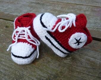 Custom Crochet Baby Converse Booties