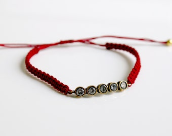 Cz Bar Bracelet Red Cord Macrame Bracelet Friendship Bracelet Macrame Knot Best Friends BFF