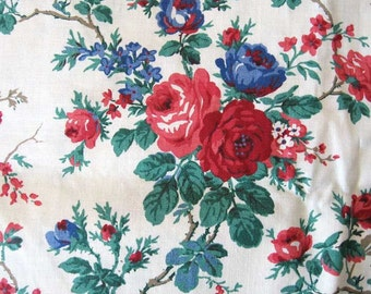 1 Yard Vintage Cotton Fabric with Red and Blue Roses, Floral Fabric, Quilt Cotton, 1980's Fabric, Roses and Vine