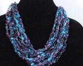 Silver,Turquoise Blue, Purple,Cobalt Blue Crochet Trellis Necklace - Adjustable, Ladder Yarn Necklace