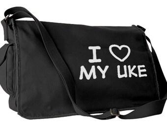 I Love My Uke Messenger Bag - seme bag yaoi laptop bag yuri seme uke gay messenger bag fandom