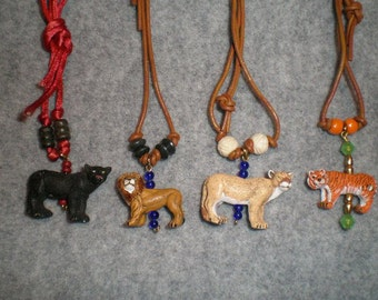 Big Cat Animal Totem Necklace, Spirit Guide Necklace, Rear View Mirror Charm, Gifts For Children, Tiger Totem, Panther Totem, Lion Totem