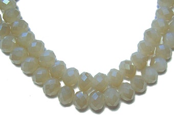 4x6mm Chinese faceted glass crystal beads Sand Opal 30pcs