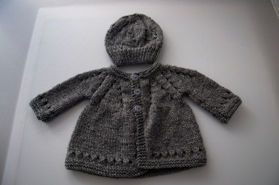 Handknitted Baby Cardigan and Hat for 3 month old child.