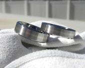 Titanium Ring SET with White Gold Inlay Stripe, Wedding Bands, Beveled Edges