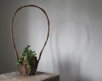 Vintage Long Handle Basket, Rustic Flower Basket, Garden, Planter, Farmhouse, Home and Living