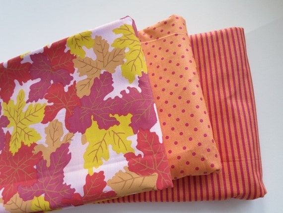 The Pink Falling Leaves Set - hand printed fabric RARE FQ Bundle