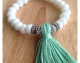 beaded bracelet for women, birthday gift for teen girl, gift idea for, gift mom, tassel bracelet, boho jewelry, best selling items, white