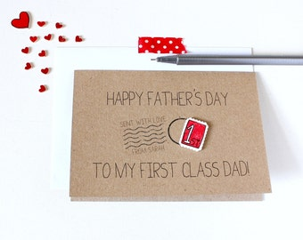 Father's Day Card. Fathers Day Card. Card for Dad. Personalised 'First Class' Dad Card. Stamp. Postage stamp. Dad Card. First Class Dad Card