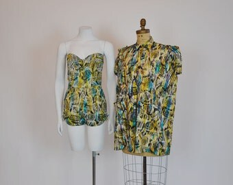 50s playsuit / Mexican Motif Vintage 1950's Strapless Hand Print Playsuit Cover Up Tea Timer