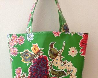 Beth's Green Mum Oilcloth Medium Market Tote Bag