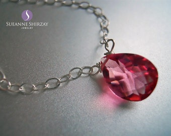 Zinnia Pink Single Stone Necklace, Faceted Pink Quartz, Gemstone Necklace, Minimalist Necklace, Gift Idea,
