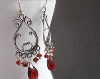 Garnet Chandelier Earrings, Garnet Sterling Earrings. gift idea, scroll earrings, gemstone earrings, birthstone earrings