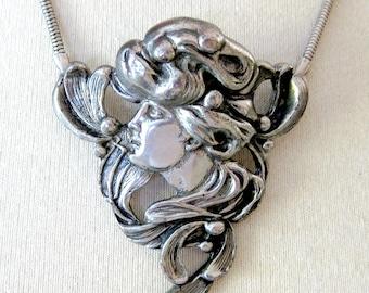 Art Nouveau Lady Pendant  / Vienna Style Woman / Statement Necklace / Large Silver Pendant / Alva Museum Reproductions / Gift for Her