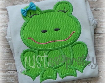 Cute Girl Frog Embroidery Applique Design