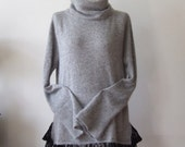 Soft knit gray tunic with vintage lace, gray knitted dress, bohemian clothing, romantic tunic dress, avant garde tunic with lace ruffle