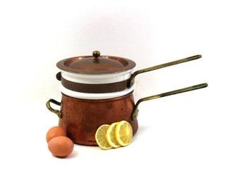 Vintage Double Boiler, Copper, Brass & Ceramic Cooking Pot