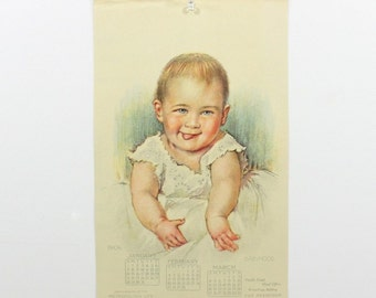 1906 Baby Calendar Print, Antique Infant Nursery Art Decor