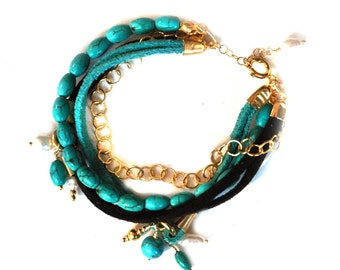 Turquoise Bracelet In Gold Coated Silver with a Small Pearl