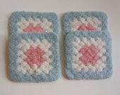 Felted Coaster Crochet Granny Square Design Blue, Pink, White