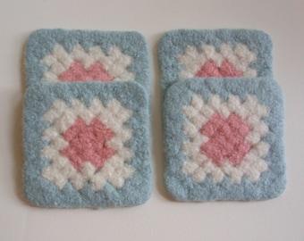 Felted Coaster Crochet Granny Square Design Blue, Pink, White