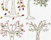 Seasonal Trees & Sayings 8 Patterns Primitive Hand Stitchery Embroidery Pattern Doodle EPattern Design