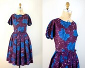 Vintage 1960s L'Aiglon Designer Painted Floral Abstract Summer Sun Dress w/Jacket