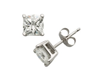 14k White Gold Earrings With 1.6 CT TW DEW Moissanite, Solitaire Stud Earrings