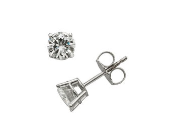 14k White Gold Earrings With 1 CT TW DEW Moissanite