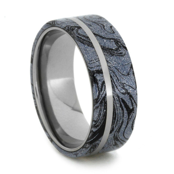 Cobaltium Mokume Gane Ring With Titanium Sleeve By