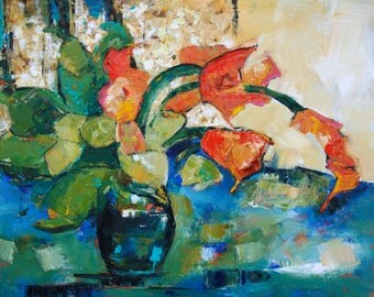"""CONTEMPORARY FLORAL ABSTRACT Original Painting """"Orange Cannas"""" Acrylic on 28"""" x 32"""" canvas by Elizabeth Chapman"""