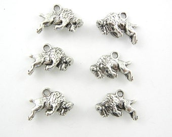 Set of 6 Pewter Double-sided Buffalo Charms