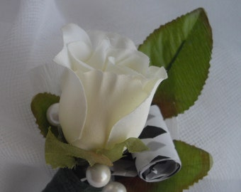 Large Boutonniere Four Inches Long Rosebud Is Two Inches Long White Realistic Rose Handmade For Groom or Groomsmen