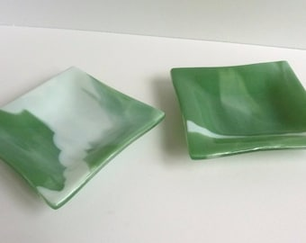 Pair of Green and White Fused Glass Dishes by BPRDesigns