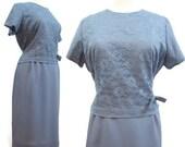 Vintage 50s 60s Dress Periwinkle Blue Lace Crepe Bridal Cocktail XXL Plus Size