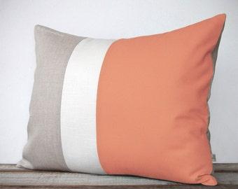 Modern Cantaloupe Colorblock Pillow Cover - Color Block Pillows by JillianReneDecor - Spring Home Decor - Mid Century - Orange Peach
