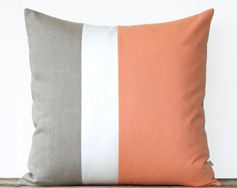 Mod Colorblock Pillow Cover - Cantaloupe - Color Block Pillows by JillianReneDecor - Home Decor - Mid Century - Cadmium Orange Peach