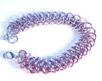 Silver and Pink Chainmaille Arkham Bracelet - Free Shipping Canada and Continental US