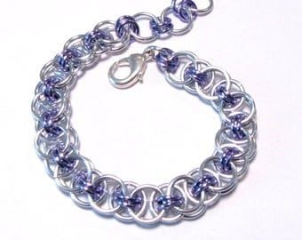 Silver and Lavender Chainmaille Helm Weave Bracelet - Free Shipping Canada and Continental US