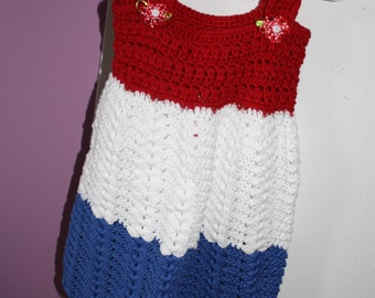 PATRIOTIC Little Girls Crocheted Sundress Size 2 years