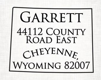 Wyoming Personalized Return Address State Stamp