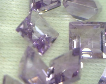 One Light Purple Amethyst Natural Gemstone 5 mm Faceted Square Average .62 carat