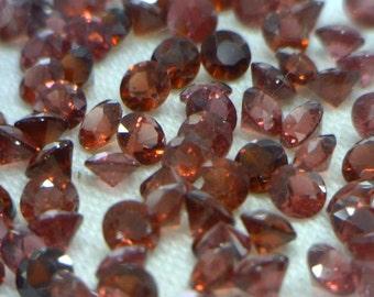 One Red Purple Rhodolite Garnet Gemstone 3.0 mm Faceted Round Average .15 carat