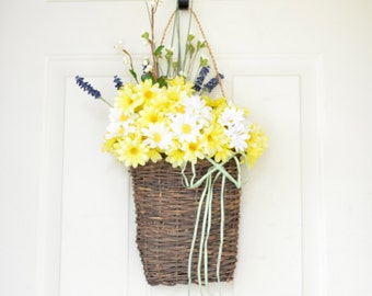 Yellow Daisy Wall Basket - Spring Decor - Summer decor  - Front door decor
