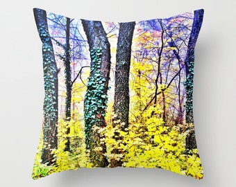 SURREAL FOREST Throw Pillow, 16x16, 18x18, 20x20, Decorative Pillow Cover, Cushion, Yellow Surreal Pillow, Tree Pillow, Woods, Woodland,Dorm